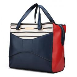 Mode Kontrast Färg PU Läder Bowknot Crossbody Hänger Lös Handväska