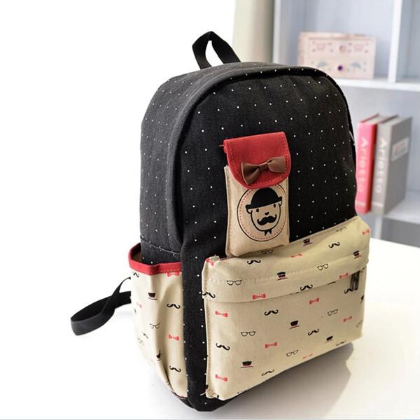 Girls Canvas Cute Dot Travel Rucksack Satchel Backpack School Bag Women's Bags
