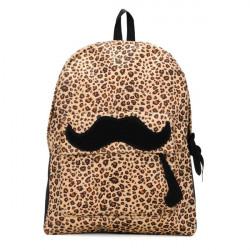 Girls Leopard Mustache Backpack Schoolbag
