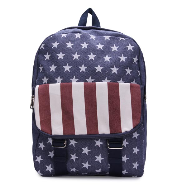 Girls Stripes Canvas American Flag Backpack Women's Bags