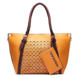 Hollow Out Rivet Decorated Handbag Crossbody Bag