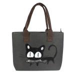 Avslappnad Gullig Katt Print Shopper Bag Lunch Bag Kvinnor Handväska Damväskor