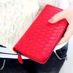 Long Grid Weave Lady Clutch Wallet Zipper Purse Women's Bags