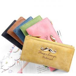 Nubuck Leather Mustaches Women Long Purse Wallet