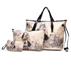 PU Leather Cartoon Girl Printed Handbag
