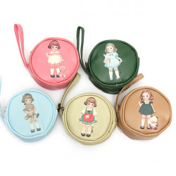 PU Læder Doll Girl Round Wallet