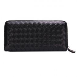 PU Leather Grid Weave Zipper Long Wallet