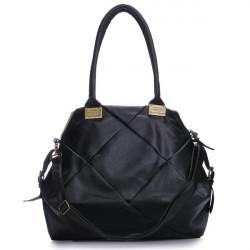 PU Leather Patchwork Plaid Big Capacity Handbag