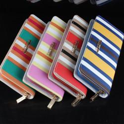PU Leder Frauen Streifen Zipper lange Mappen Damen Kupplungs Geldbeutel Kartenhalter