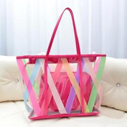 Rainbow Candy Color Transparent Jelly Kvinder Håndtaske