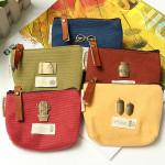 Retro Canvas Zip Wallet Damentaschen für Frauen