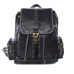 Retro Pumping Belt Hook Bag Women Backpack PU Leather School Backpacks
