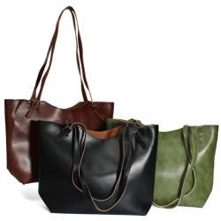 Retro Frauen beiläufige 2 Beutel PU Leder Handtaschen One Shoulder Bags