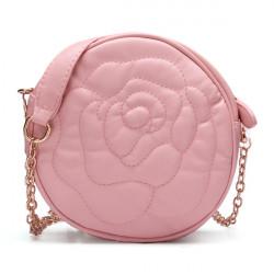 Rose Pattern Round Chain Crossbody Bag
