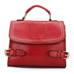 Shield Pattern Belt Decorated Women Bag