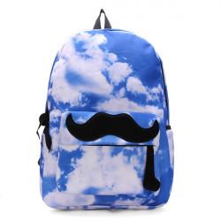 Unisex Canvas Sky Moustache Galaxy Rygsæk Travel Rygsæk Skoletaske