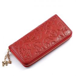 Vintage Flower Women Purse Medium-Long PU leather Zipper Wallet