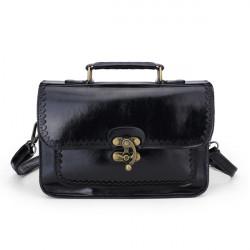 Frau PU Leder Retro Messenger Bag Handtasche Schultertasche