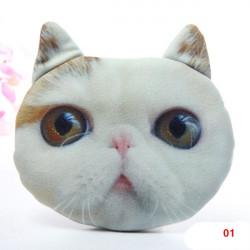 Kvinder 3D Cat Pussy Hoved Face Lynlås Pung Wallet Pouch Coin Håndtaske