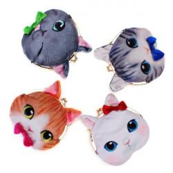 Frauen 3D Mini nette Katze Gesicht Haspe Dame Clutch Geldbörse Key Bag