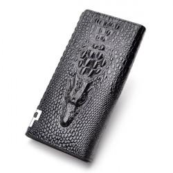 Women And Men PU Leather Crocodile Envelope Long Clutch Purse