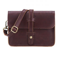 Women Belt Buckle Vintage Leather Handbag Shoulder Messenger Bag