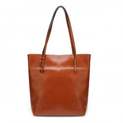 Women Big Tote Vintage Brown Oil Waxing Cowhide Leather Handbags