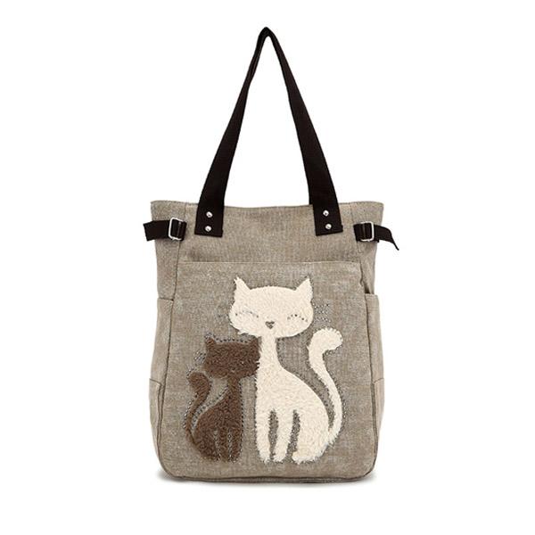 Frauen Segeltuch Handtasche nette Katze Umhängetasche Totes Damentaschen für Frauen