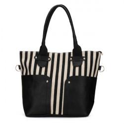 Frauen Segeltuch Streifen Handtasche Schultertasche