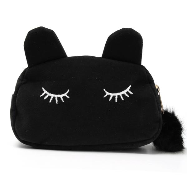 Frauen Karikatur nette Katzen Gesicht Einkaufstasche Halten Imitation Velvet Purse Damentaschen für Frauen