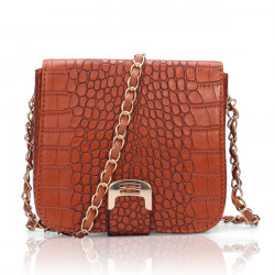 Women Crocodile Leather Flap-top Chain Strap Messenger Bag