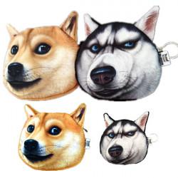 Women Cute Doge Face Husky Wallet Zipper Coin Purse Makeup Bag
