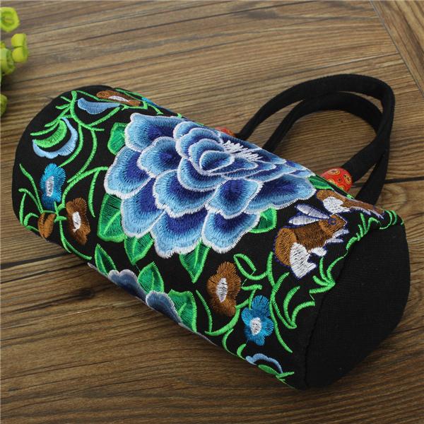 Kvinder Broderi Vintage Blomst Canvas Messenger Skuldertasker Små Håndtasker Dametasker