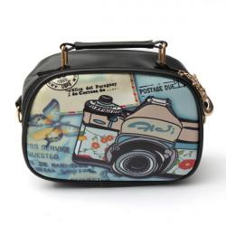 Kvinnor Flickor Lovely Griffiti PU Läder Messenger Crossbody Handväska