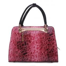 Frauen Glattleder Leopard Druck Handtasche
