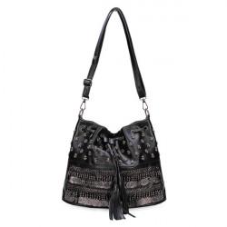 Women Handbags Rivet Drawstring Shoulder Bags Diagonal Bucket Crossbody Bag