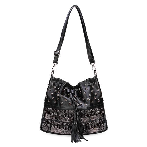 Kvinder Håndtasker Rivet Løbegang Skuldertasker Diagonal Bucket Crossbody Taske Dametasker