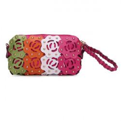 Kvinder Hollow Out Blomst Rivet Crossbody Taske Håndtaske