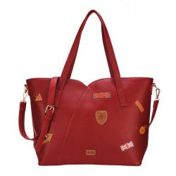 Frauen Leder Abzeichen Handtasche Schultertasche