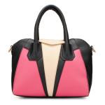 Frauen Leder Farben Block Handtasche Schultertasche Damentaschen für Frauen