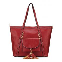 Kvinnor Läder Handväska Pocket Tassel Axelväskor