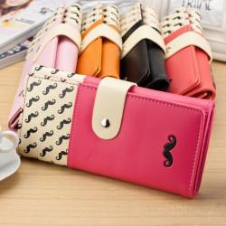 Frauen Lange Schnurrbart Geldbörse Damen Handtasche PU Reißverschluss Geldbeutel Kartenhalter