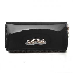 Frauen Schnurrbart Leder Lange Brieftasche Reißverschluss Kupplung Geldbörse