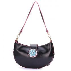 Frauen Oil Leder Diamant Handtasche Schultertasche