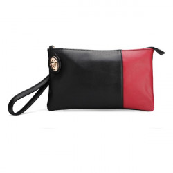 Women PU Leather Color Block Clutch Bag Handbag
