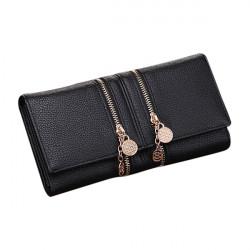 Frauen PU Leder Doppelt Reißverschluss Lange Clutch Handtasche Mappen Kartenhalter