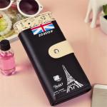 Frauen PU Leder Eiffelturm lange Kupplungs Kartenhalter bunter Geldbeutel Damentaschen für Frauen