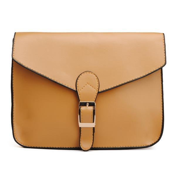 Frauen PU Leder Retro Süßigkeit Farben Platz Gürtel verziert Umhängetaschen Damentaschen für Frauen