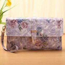 Women PU Leather Vintage Pastoral Flower Printed Purse Clutch Bag