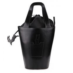 Kvinder PU Kanin Sort Bucket Håndtaske